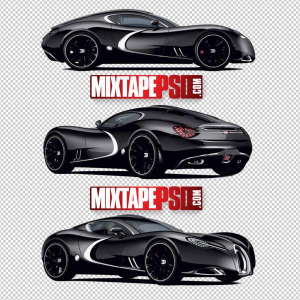 Black Bugatti Sports Car PNG