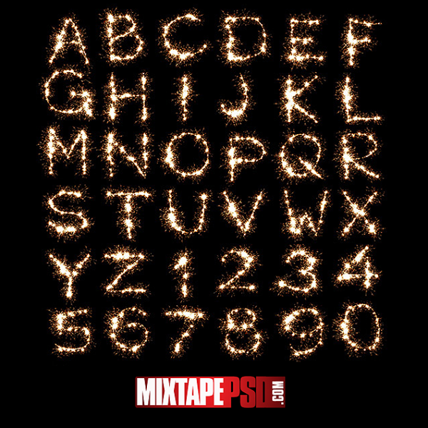 Fire Sparkles Alphabet and Numbers Template
