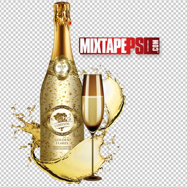 Gold Champagne Glass Splash Liquor Bottle PNG