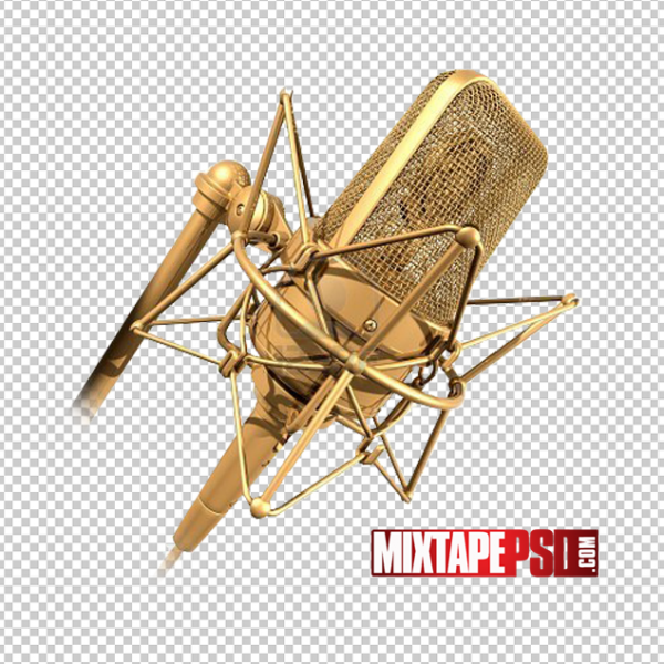 Gold Microphone PNG