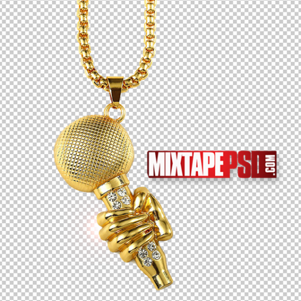 Gold Microphone Pendant PNG 2