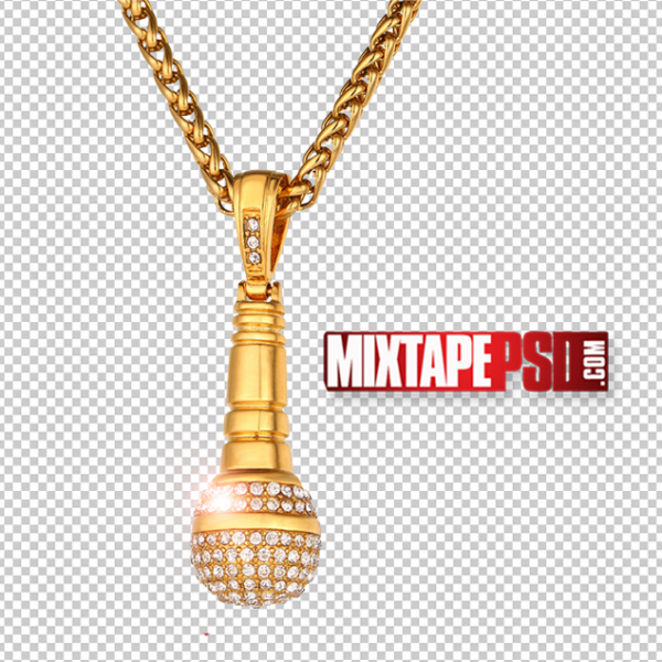 Gold Microphone Pendant PNG