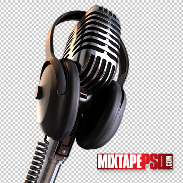 Microphone with Headphones PNG