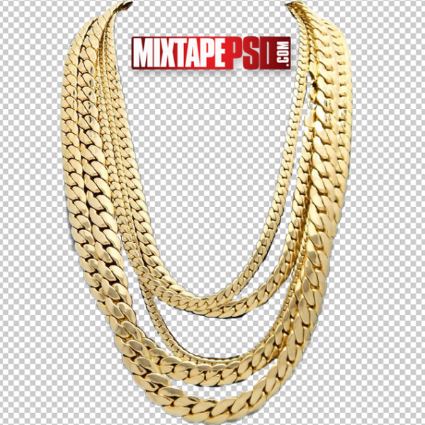 Gold Cuban Chains PNG 2