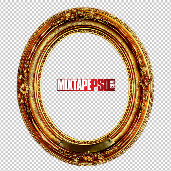 Oval Gold Frame PNG