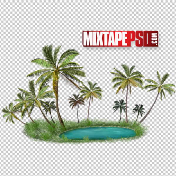 Palm Tree Island PNG
