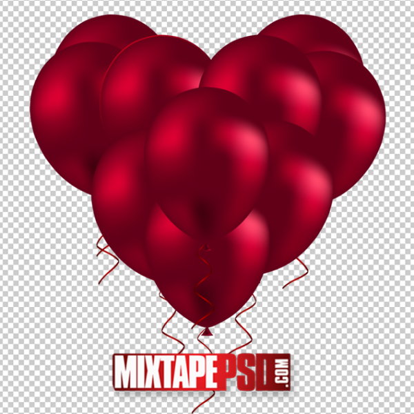 Red Balloon Heart PNG