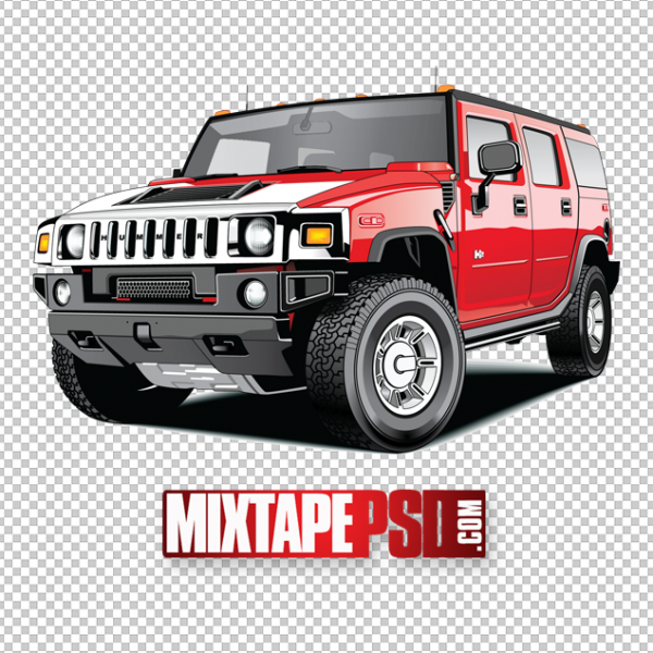 Red Hummer Truck PNG 2