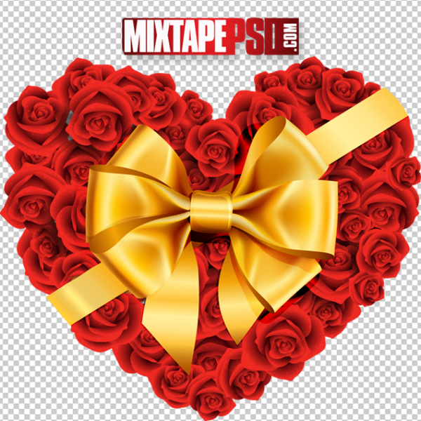 Valentine Heart Flowers Bow Template