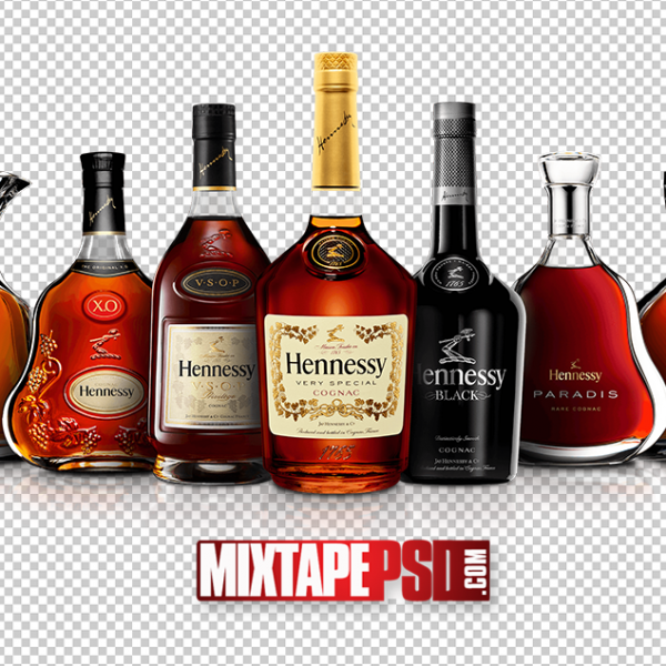 Variety Bottles of Hennessy PNG