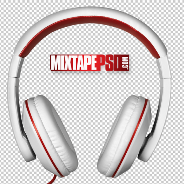 White Red Headphones PNG