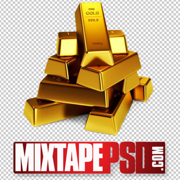 Stacked Gold Bars PNG 4