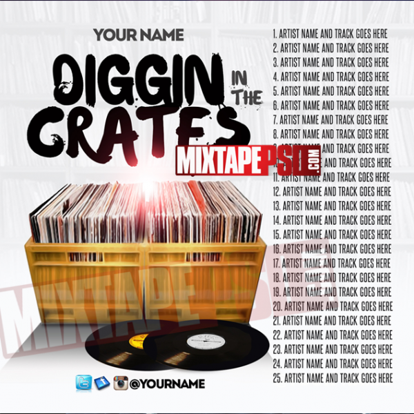 Mixtape Cover Template Digging in the Crates w Track List, Album Covers, Graphic Design, Graphic Designer, How to Make a Mixtape Cover, Mixtape, Mixtape cover Maker, Mixtape Cover Templates, Mixtape Covers, Mixtape Designer, Mixtape Designs, Mixtape PSD, Mixtape Templates, Mixtapepsd, Mixtapes, Premade Mixtape Covers, Premade Single Covers, PSD Mixtape, Custom Mixtape