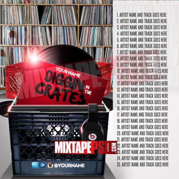 Mixtape Cover Template Digging in the Crates 2 w Track List, Album Covers, Graphic Design, Graphic Designer, How to Make a Mixtape Cover, Mixtape, Mixtape cover Maker, Mixtape Cover Templates, Mixtape Covers, Mixtape Designer, Mixtape Designs, Mixtape PSD, Mixtape Templates, Mixtapepsd, Mixtapes, Premade Mixtape Covers, Premade Single Covers, PSD Mixtape, Custom Mixtape