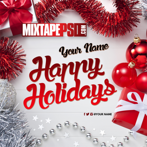 Mixtape Cover Template Christmas Happy Holidays