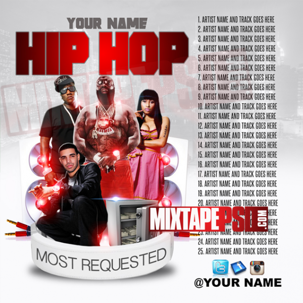 Mixtape Template Hip Hop Most Requested 7 w Track Listing, Album Covers, Graphic Design, Graphic Designer, How to Make a Mixtape Cover, Mixtape, Mixtape cover Maker, Mixtape Cover Templates, Mixtape Covers, Mixtape Designer, Mixtape Designs, Mixtape PSD, Mixtape Templates, Mixtapepsd, Mixtapes, Premade Mixtape Covers, Premade Single Covers, PSD Mixtape, Custom Mixtape