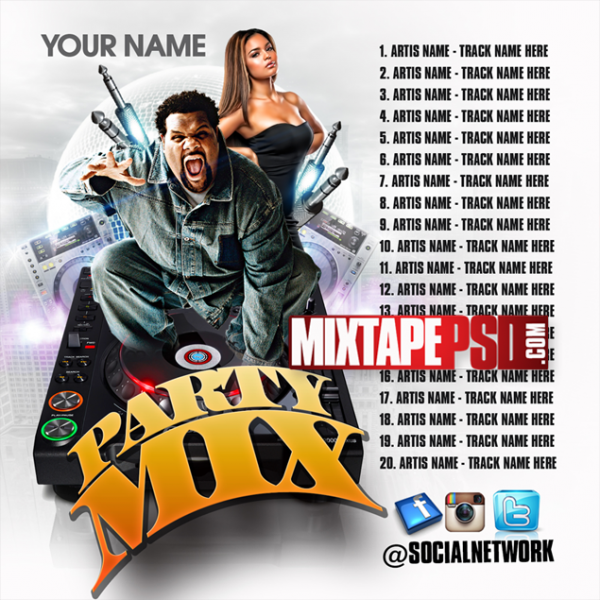 Mixtape Template Party Mix w Tracklist 2, Album Covers, Graphic Design, Graphic Designer, How to Make a Mixtape Cover, Mixtape, Mixtape cover Maker, Mixtape Cover Templates, Mixtape Covers, Mixtape Designer, Mixtape Designs, Mixtape PSD, Mixtape Templates, Mixtapepsd, Mixtapes, Premade Mixtape Covers, Premade Single Covers, PSD Mixtape, Custom Mixtape