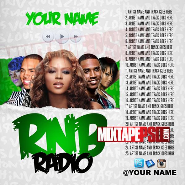 Mixtape Cover Template RNB Radio 4 w Track List