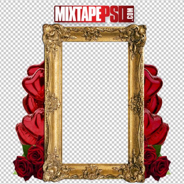 Gold Frame Red Heart Balloons Roses