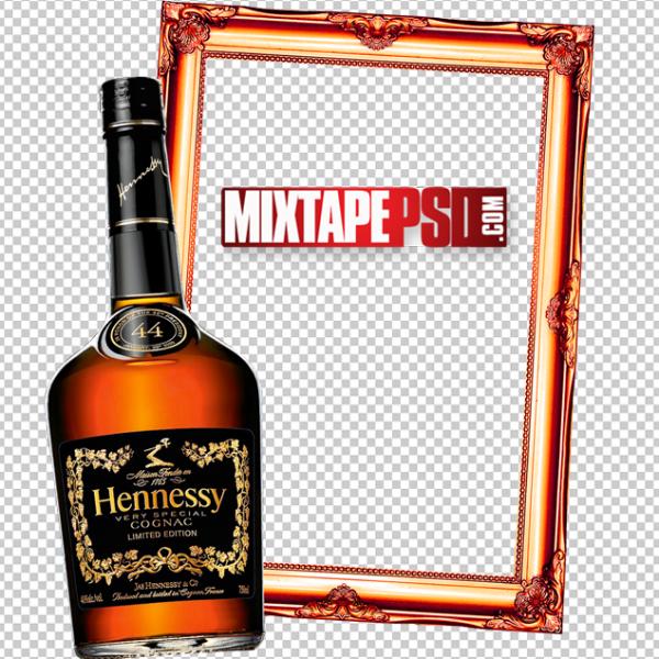 Hennessy Liquor Bottle Gold Frame