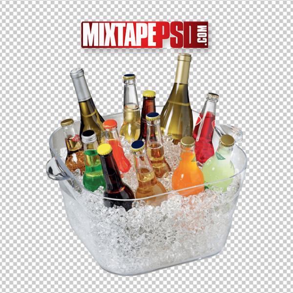 Ice Bucket of Beer Drinks Wine PNG