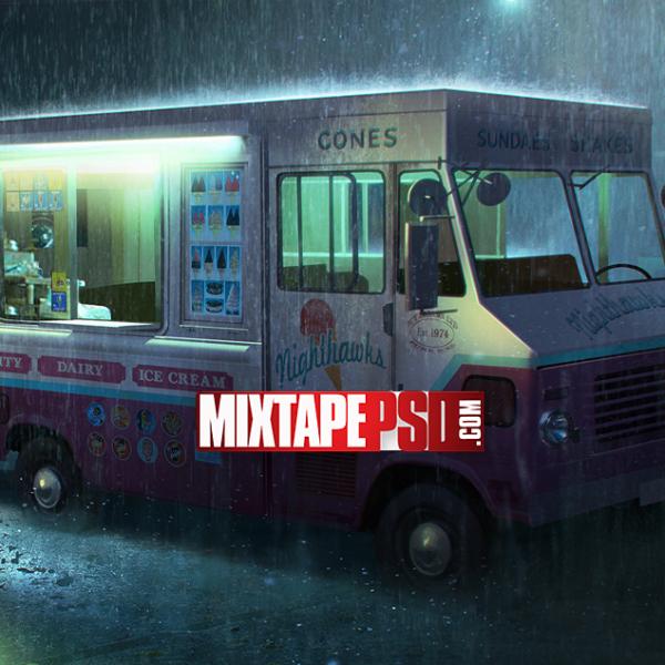 Ice Cream Truck Rainy Day Background