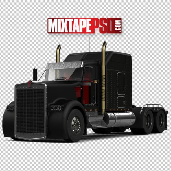 Black 18 Wheeler Bed Trailer Truck