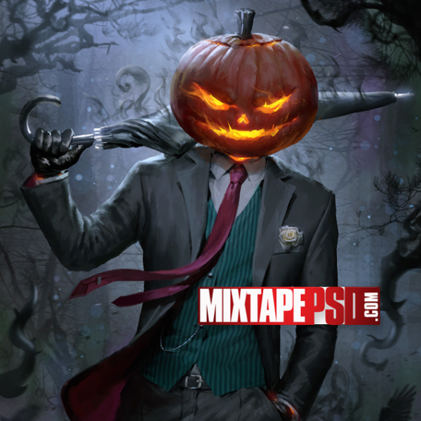 Halloween Pumpkin Head Suited Man Wallpaper