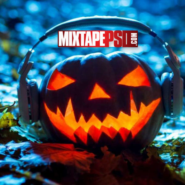 Halloween Pumpkin Head Headphones Wallpaper