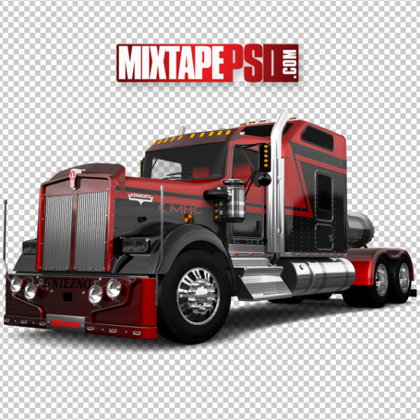 Red Black 18 Wheeler Bed Trailer Truck