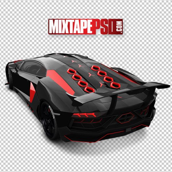 Top Angle View black Red Lamborghini