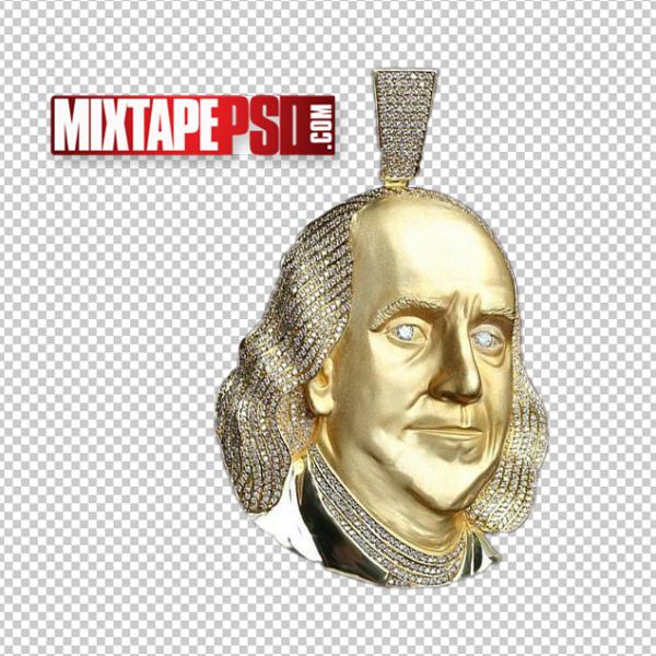 Benjamin Franklin Gold Money Symbol Pendant