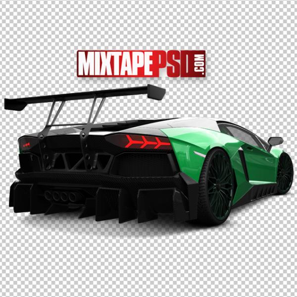 Rear Black Green Lamborghini