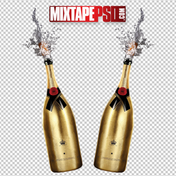 Gold Champagne Bottle Splash Pop