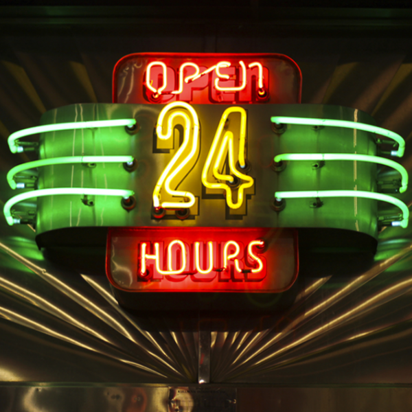 HD Open 24 hours Neon Sign Background