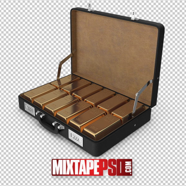 HD Briefcase Gold Bar Ingots PNG 2