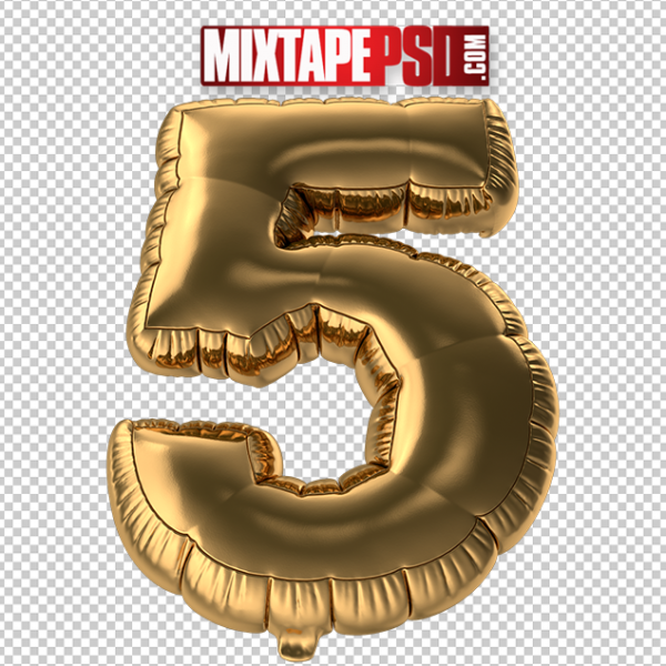 HD Gold Foil Balloon Number 5