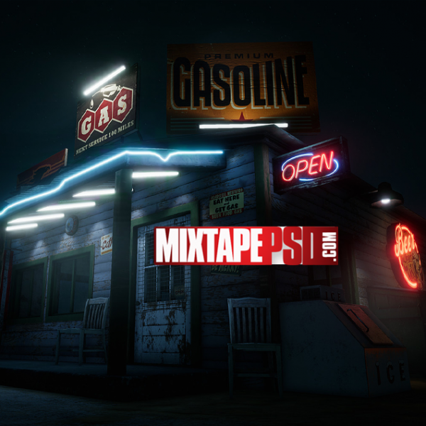 Old Night Time Gas Station Background