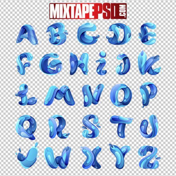HD Blue Water Splash Alphabet PSD