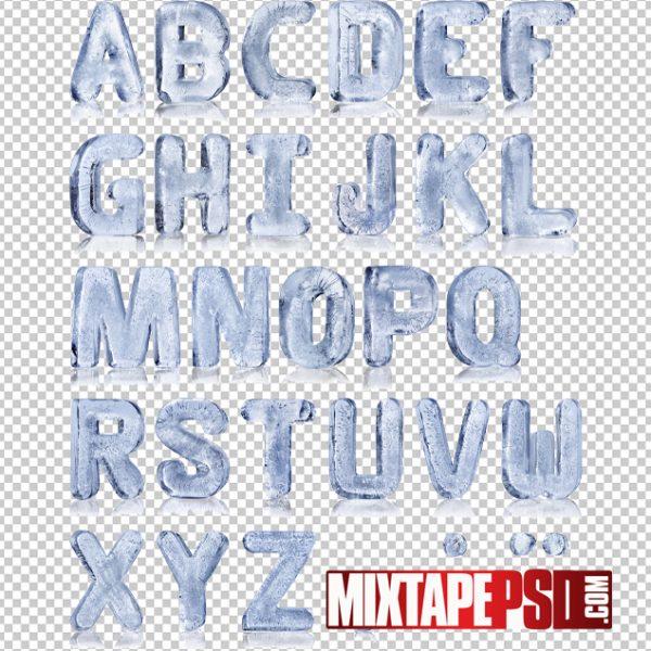 HD Ice Alphabet Text PSD