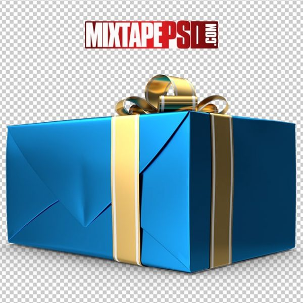 HD Blue Gold Christmas Present 2