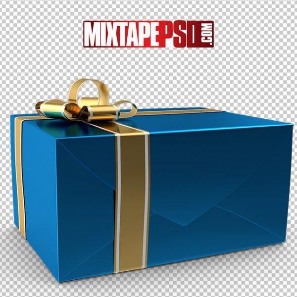 HD Blue Gold Christmas Present