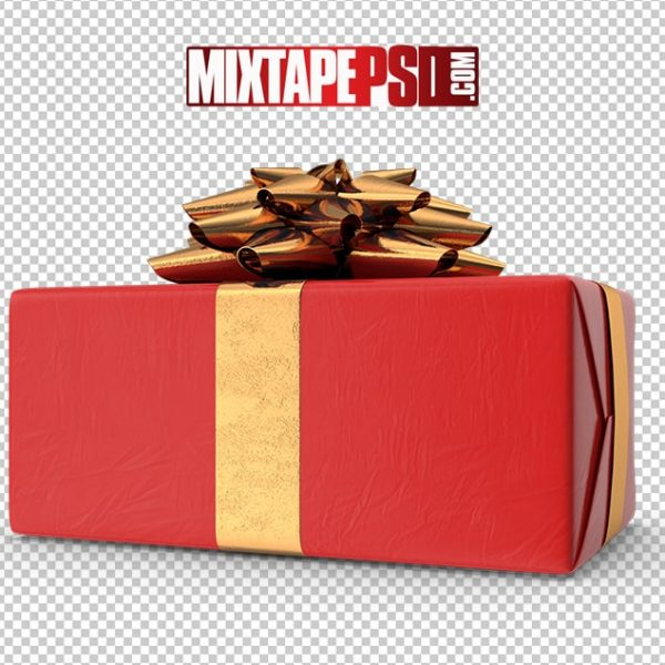 HD Red Gold Christmas Present 3