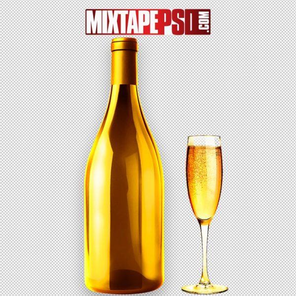 Gold Liquor Bottle & Champagne Glass
