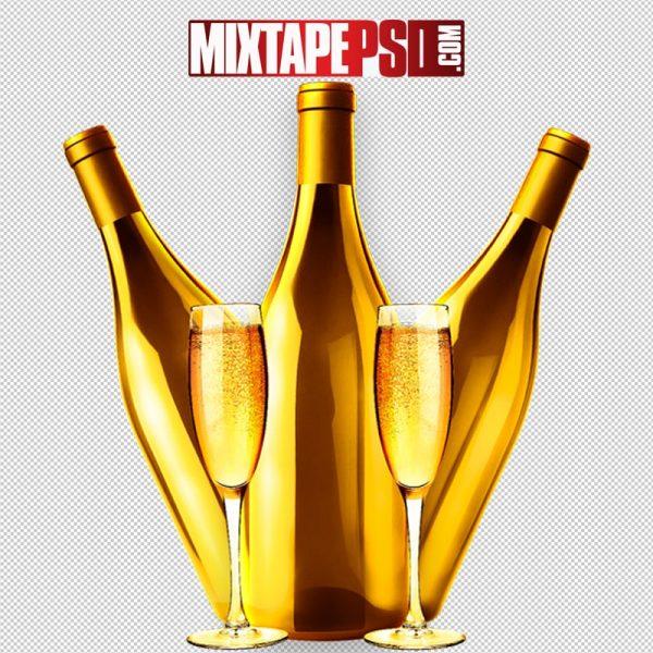 Gold Liquor Bottle & Champagne Glasses