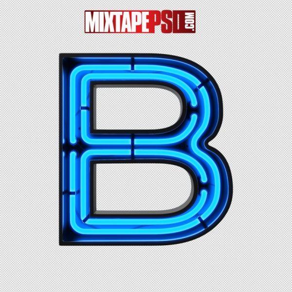 Neon Alphabet Letter B