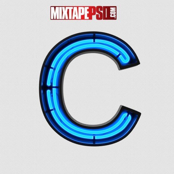 Neon Alphabet Letter C