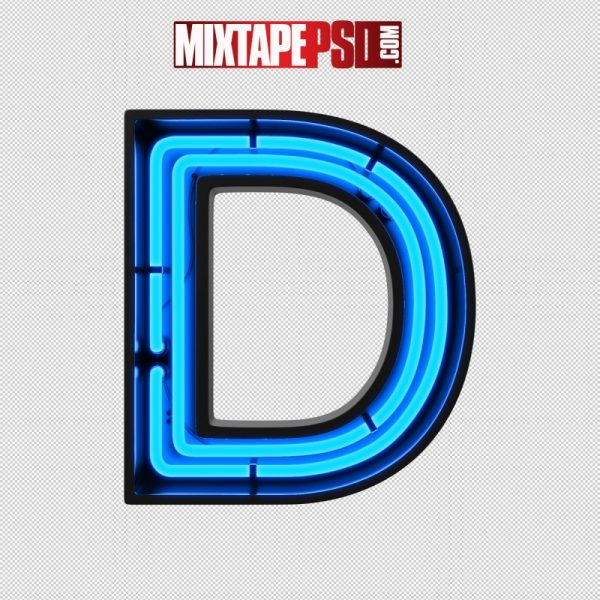 Neon Alphabet Letter D