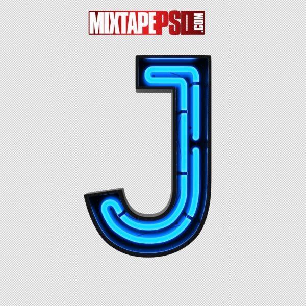 Neon Alphabet Letter J