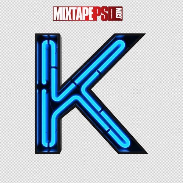 Neon Alphabet Letter K